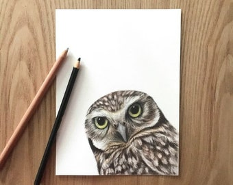 Owl painting original drawing,Owl drawing art wall,Animal wood drawing,Original pencil drawing,Owl artwrok kids room decor,Owl nursery decor