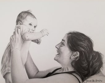 Custom portrait from photo,Realistic family portrait,Personalized family portrait,Personalized draw to photo,Pencil drawing,pencil portrait