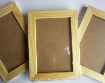 Set of 3 photo frames made in FRANCE in solid wood varnished to 10x15cm photo