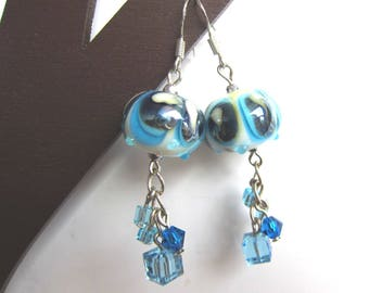 Earrings with Lampwork Glass Bead and Swarovski crystals - blue / white / silver