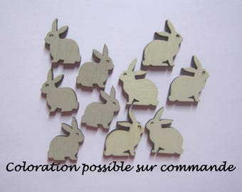 Embellishments rabbits wood - set of 10, 4 or 2 - confetti for your scrapbooking works or table, card making, etc.