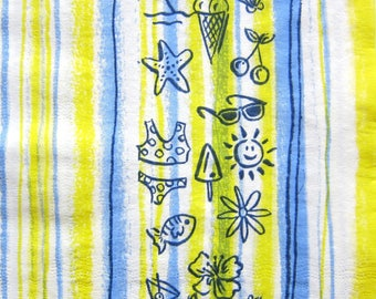 Towel theme was yellow, blue and white - striped sea and holiday patterns