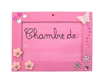 """Baby door plaque / girl personalized with name - """"Butterflies and flowers"""""""