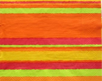 Napkins with stripes of bright colors - orange, red, green, yellow