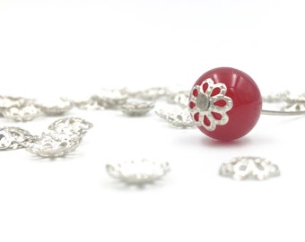 100 bead caps silver tone