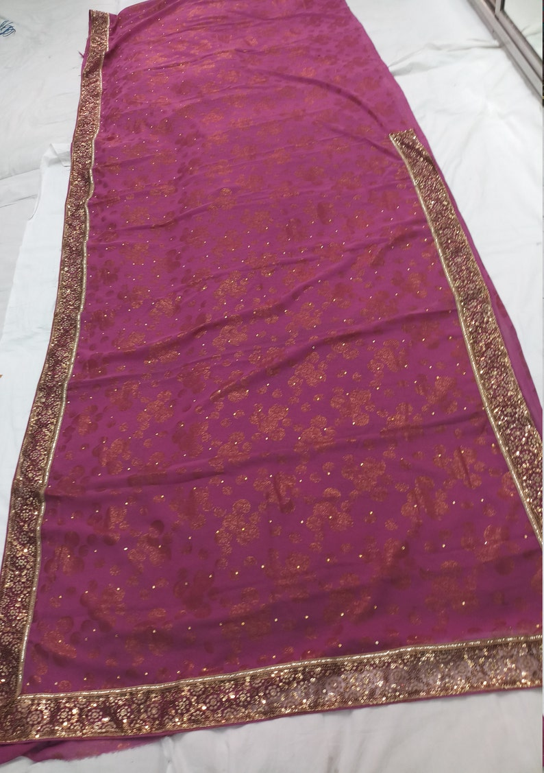 Indian Vintage Georgette Saree Red Embroidered Fabric Craft Sari 5 Yard VGR6763