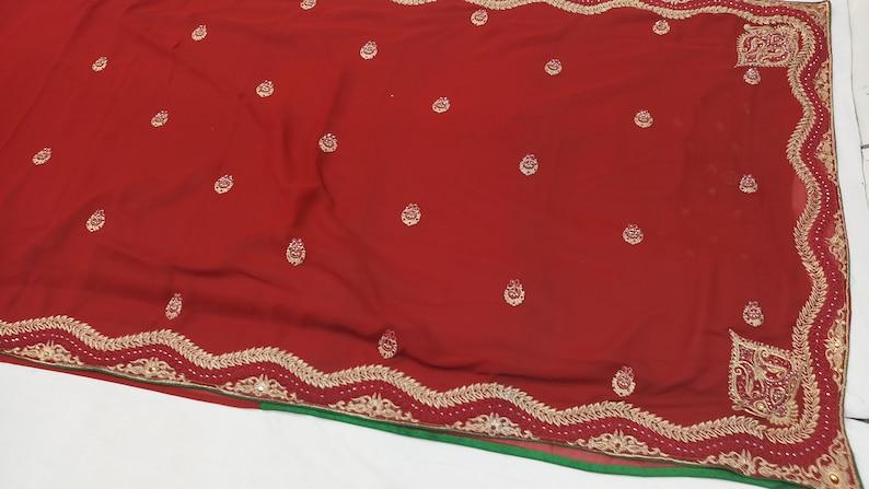 indian Vintage  Saree Blend Georgette  Embroidery Printed 5 Yard Sari Craft Fabric
