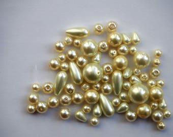 Lot 45/50 coated glass beads White Pearl different sizes