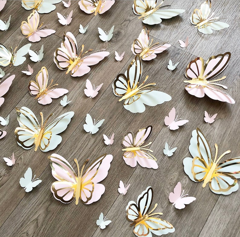 baby girl nursery and room decor, 60pcs 3D paper butterflies for Christmas tree decor