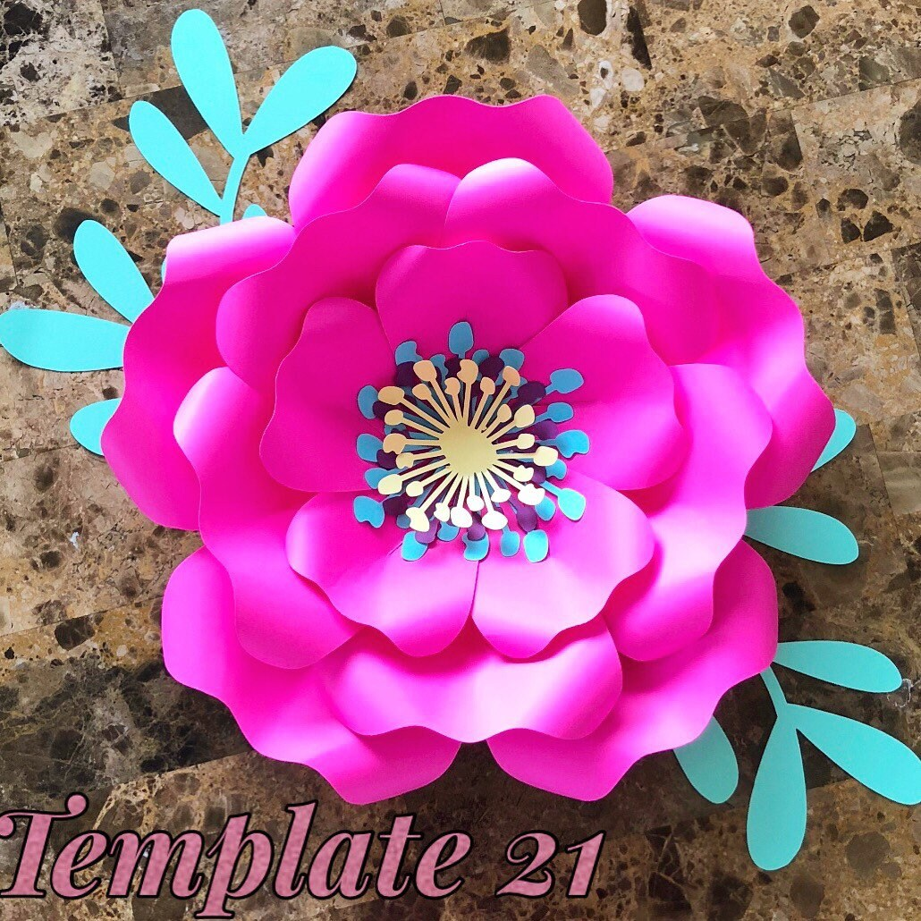Pdf Paper Flower Template No21 Paper Flower Diy Paper Etsy