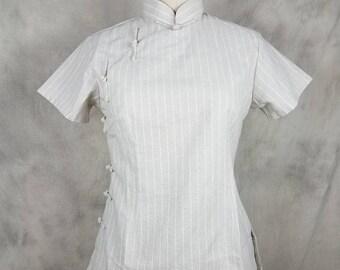 d68848cb6 Cheongsam Top Mandarin Collar Beige Cotton Linen Striped Qipao Top with  Side Frog Button Closure