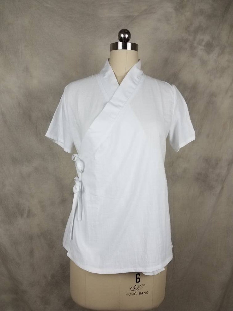 17848e93 Chinese T-shirt Hanfu Top Simple White Tee Cross-collar 100%   Etsy