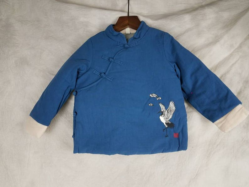 Chinese Jacket Unisex Kids Tang Suit Winter Crane Patterns Cotton-padded  Coat with Frog Button Closure