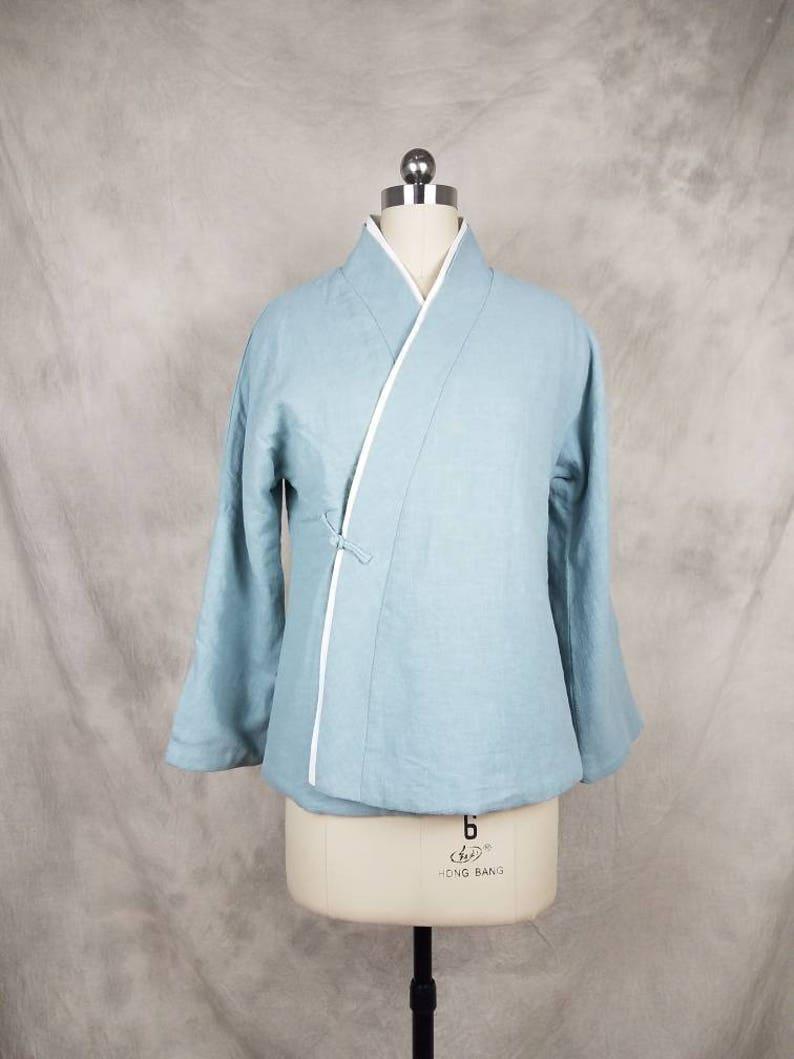 a1e75398f Retro Chinese Jacket Vintage Oriental Hanfu Cross-collar Sky   Etsy