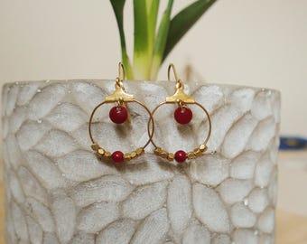 Hoop earrings red burgundy - enameled jewelry