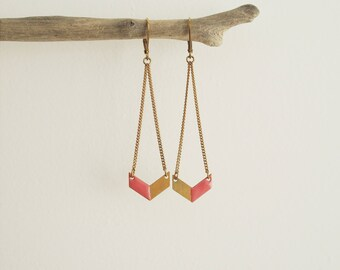 Old pink and gold chevron earrings