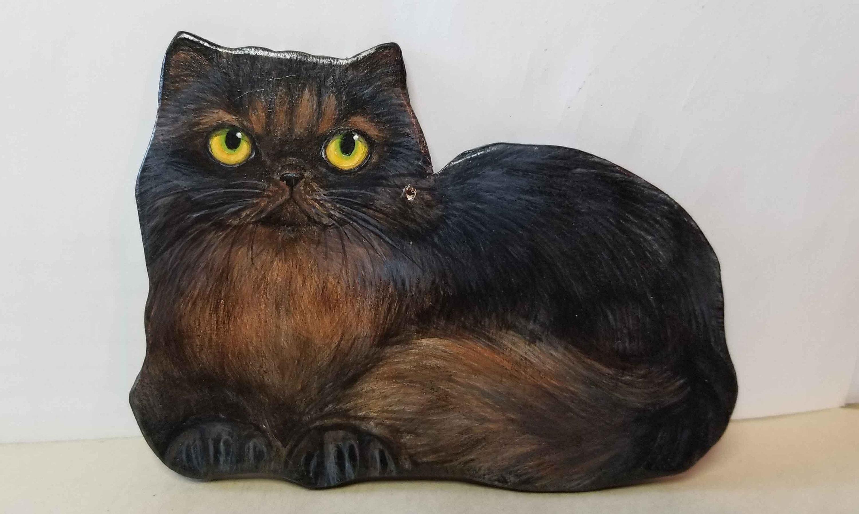 Kot Perski Czarny Kot Ornament Ręcznie Robione Ręcznie Etsy