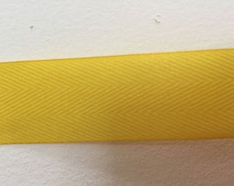yellow striped cotton Ribbon width 2.5 cm