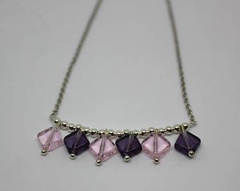 Burst beads collection: necklace beads purple glass - free earrings