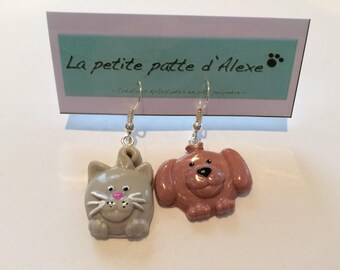 """Earrings """"as a dog and cat"""""""