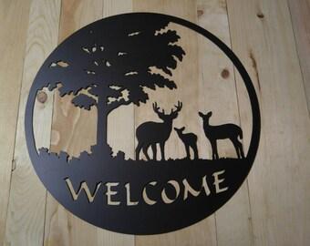 Deer Family Welcome Plasma Cut metal wall art