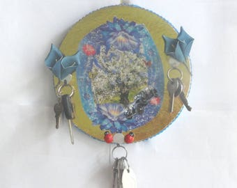 Hang keys, hanging round dishcloths in recovery, think beast, wall decor