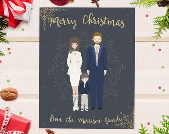 Personalized christmas cards etsy personalized christmas cards printable merry christmas card custom family portrait illustration holiday cards our first christmas m4hsunfo