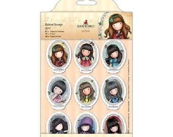 Gorjuss Frames Rubber Stamp By Santoro Girl Set 9 Mini Medallions Pcs Scrapbooking