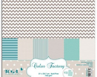 Printed scrapbooking paper, blue beige and taupe, TOGA, format A4 - Qty 48