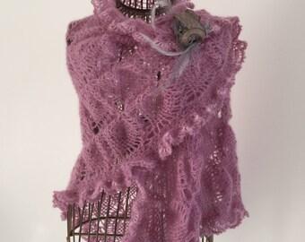 Shawl, scarf / Pink for women, crochet, mohair, silk