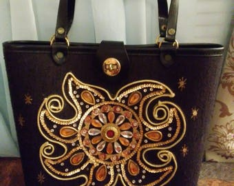 Vintage Enid Collins Sophistikit black and gold purse