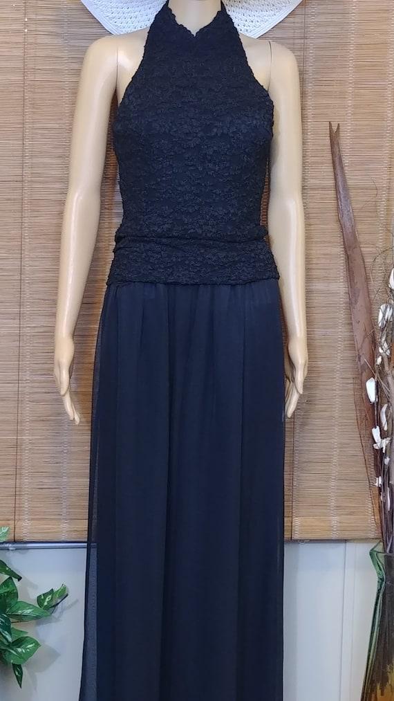 Vintage shear and lace black Lew Magram jumpsuit