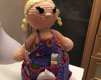 Crafting accessory doll apron hand crocheted pin cushion