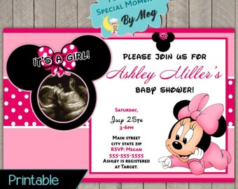 Minnie mouse and daisy duck baby shower invitation printable etsy custom minnie mouse baby shower invitation printable file its a girl baby shower invite with sonogram filmwisefo