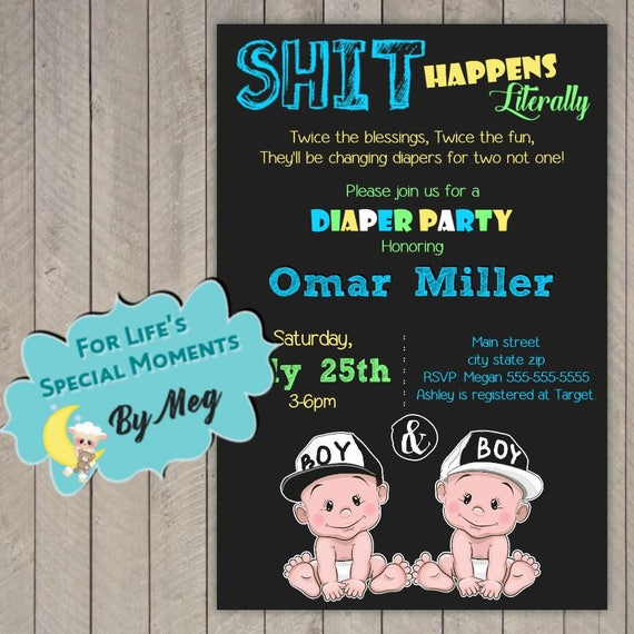 Printable Diaper Party Baby Shower Invitation Printable File It S Twin Boys Baby Shower Invite Or Twin Girls
