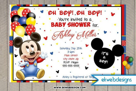 Mickey Mouse Baby Shower Invitations Its A Boy Baby Etsy