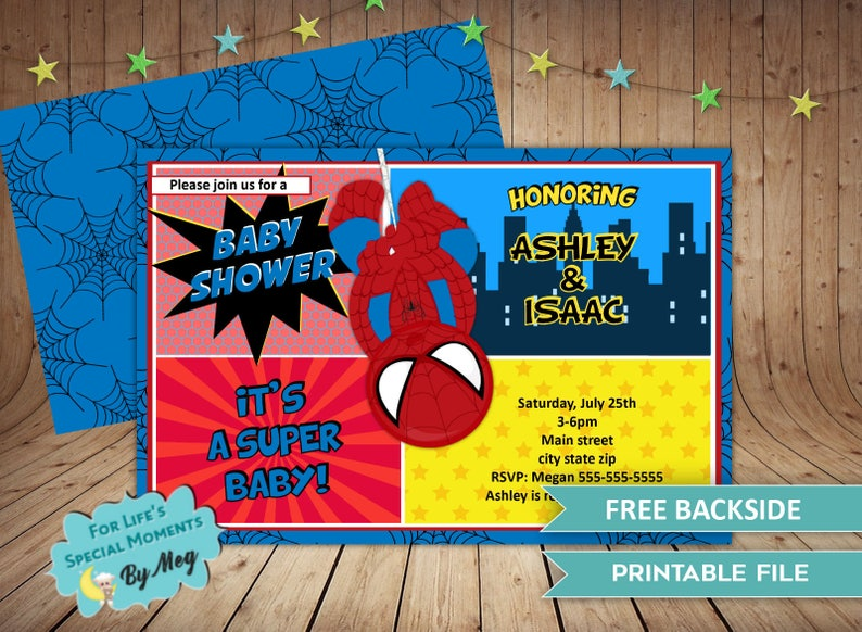 picture regarding Free Printable Superhero Baby Shower Invitations known as Spiderman Tremendous Hero Kid Shower Invites - Its a Boy Tremendous Hero Kid Shower Invitation - Spiderman World wide web Swinging Tremendous Hero
