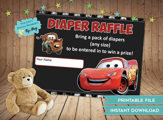 Disney Cars Diaper Raffle Tickets Instant Download Made To Etsy