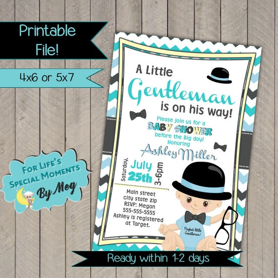Little gentleman baby shower invitations little man baby etsy image 0 filmwisefo