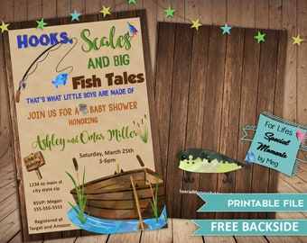 Fishing Camping Baby Shower Invitation - Printable file - It's a Boy Baby Shower Invite with Backside, Hooks, Scales and BIG Fish Tales