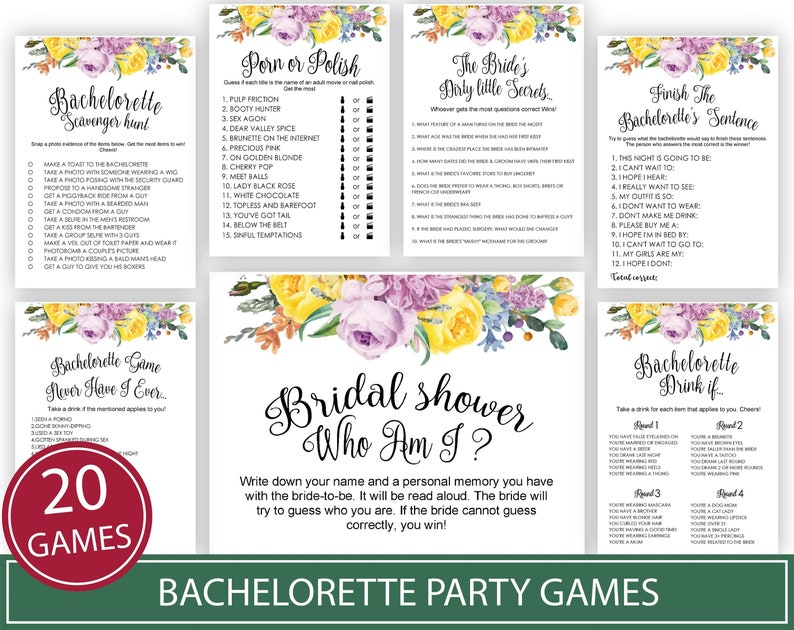 image about Bachelorette Party Games Printable identify Bachelorette Bash Video games . Printable Instantaneous Obtain Bridal Shower Game titles .Rustic, Kraft, Amusing, Enjoyable, Bridal Shower Game titles