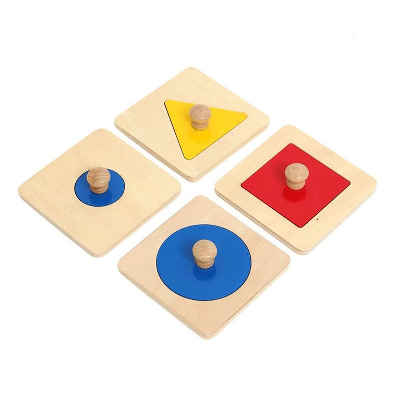 Montessori Single Shape Puzzle (Set of 4) - Geometric Shapes Puzzle -  Infants, Toddlers Early Learning Sensorial Materials