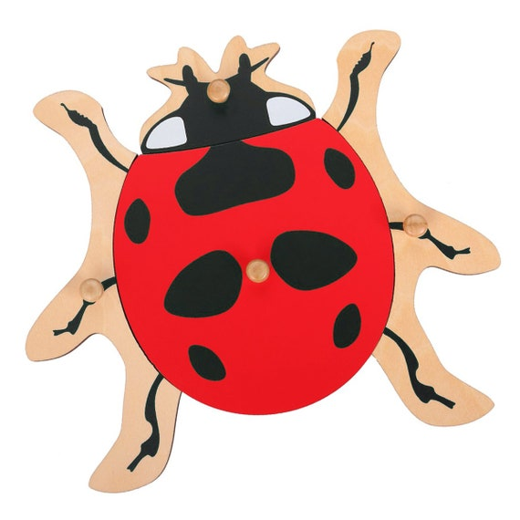 NEW Montessori Zoology Material Wooden Ladybug Puzzle