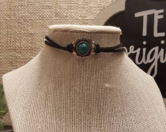 Turquoise Concho Black Leather Choker
