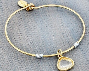 Goldtone Clear Crystal Bangle