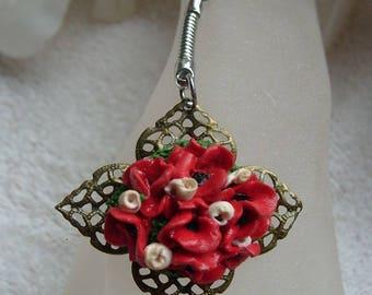 MODELAGE FANTAISIE COQUELICOTS bijou de sac fleurs coquelicots sur support bronze filigrané pour l'embellissement de votre sac a main
