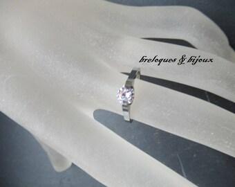 BAGUE ARGENTEE ZIRCON diamant de crystal magnifique bijou pour st valentin ou fiançailles a offrir pour femme