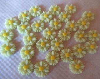 CAMEES MARGUERITTES  lot de 50 fleurs marguerites 1.5 cm  fleurs en résine couleur vert d'eau coeurjaune l