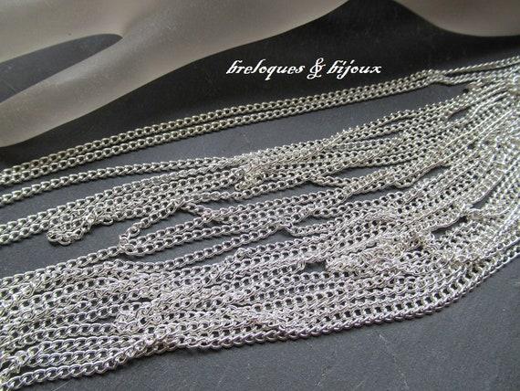 CHAINES MAILLES GOURMETTES lot de 7 chaines de 1  mètre mailles gourmettes 3 mm argentées pour créations colliers ou sautoirs