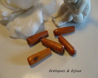 PERLES BOIS TUBES lot de 25 perles 4 cm tubes en bois naturel verni pour création collier ou bracelet